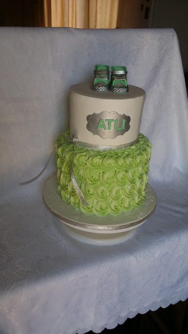 2 Tier Rossette Baby Shower Cake