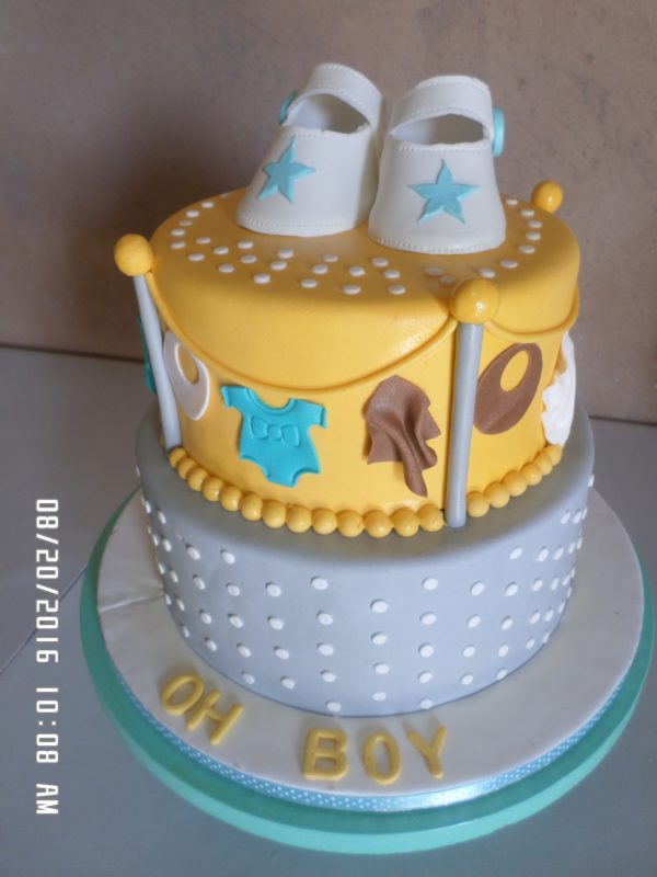 2 tier Hanging Clothes Baby Shower Cake
