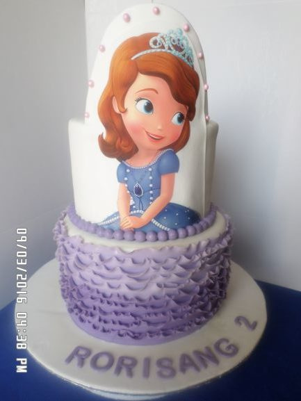 2 tier Sofia Ruffle Cake