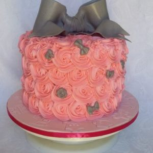 Rossette and Bow Baby Shower Cake