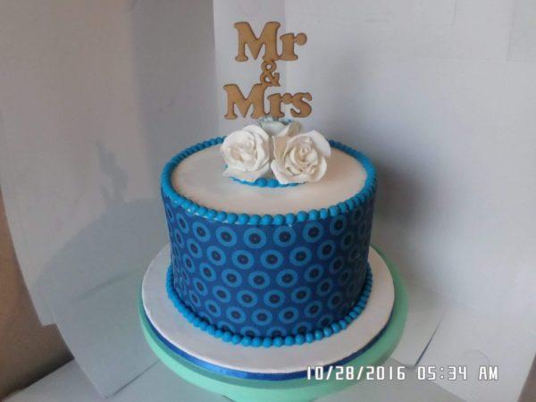 1tier Edible Print Traditional Wedding Cake