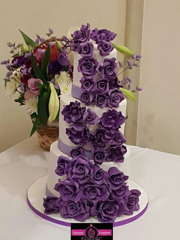 3tier Rose Wedding Cake