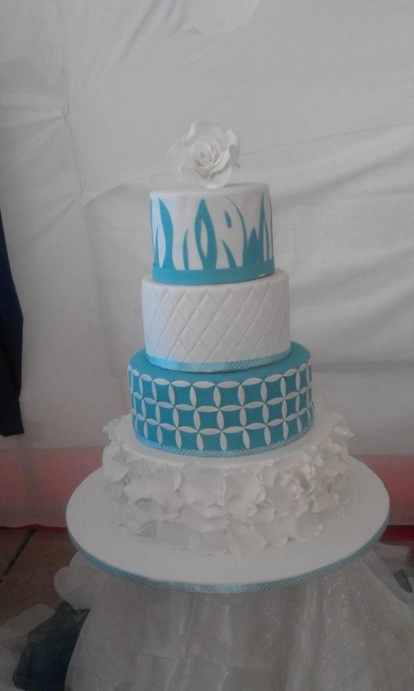 3tier Single Rose wedding cake
