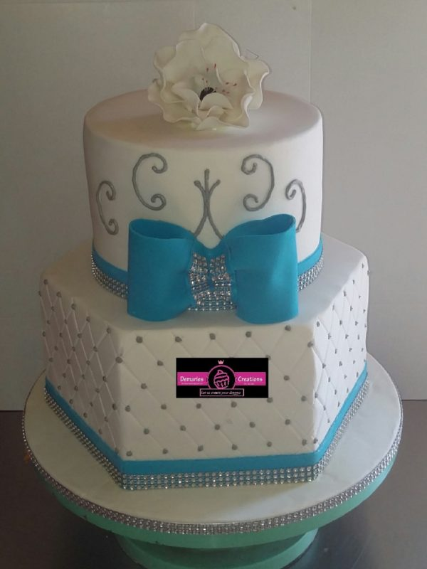 Hexagon Bow Wedding Cake