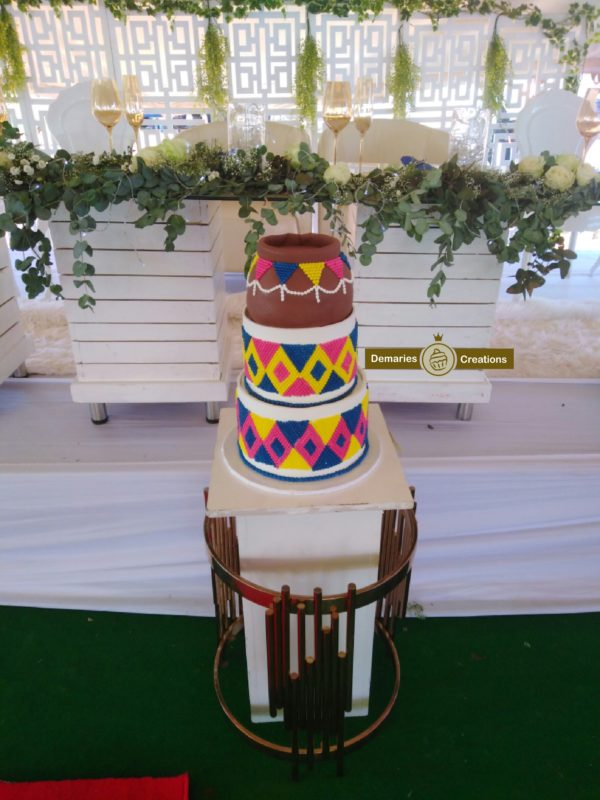 Beadwork inspired traditional wedding cake